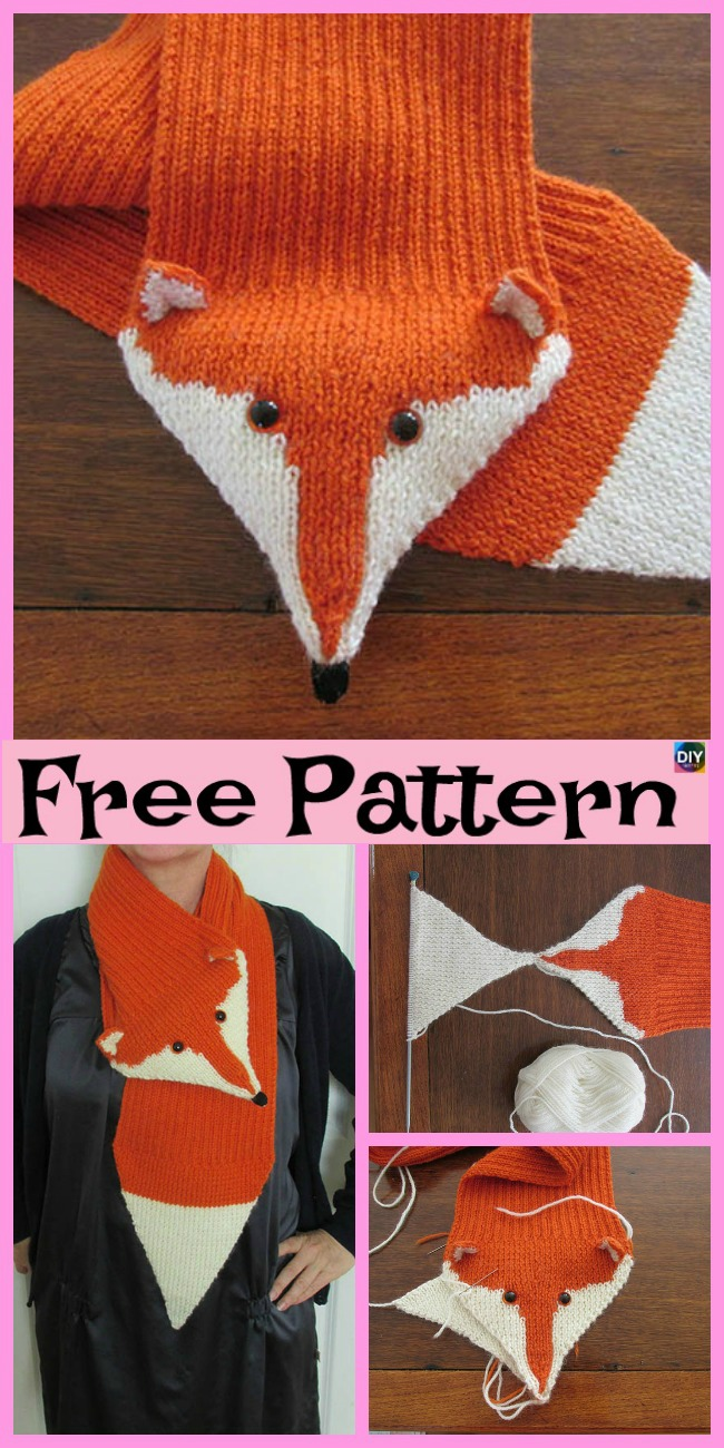 diy4ever-5 Cutest Knitting Fox Scarf Free Patterns