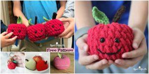 diy4ever 6 Crochet Apple Amigurumi Free Patterns F 300x150 - Colorful Crochet Sun Rainbow Lovey - Free Pattern
