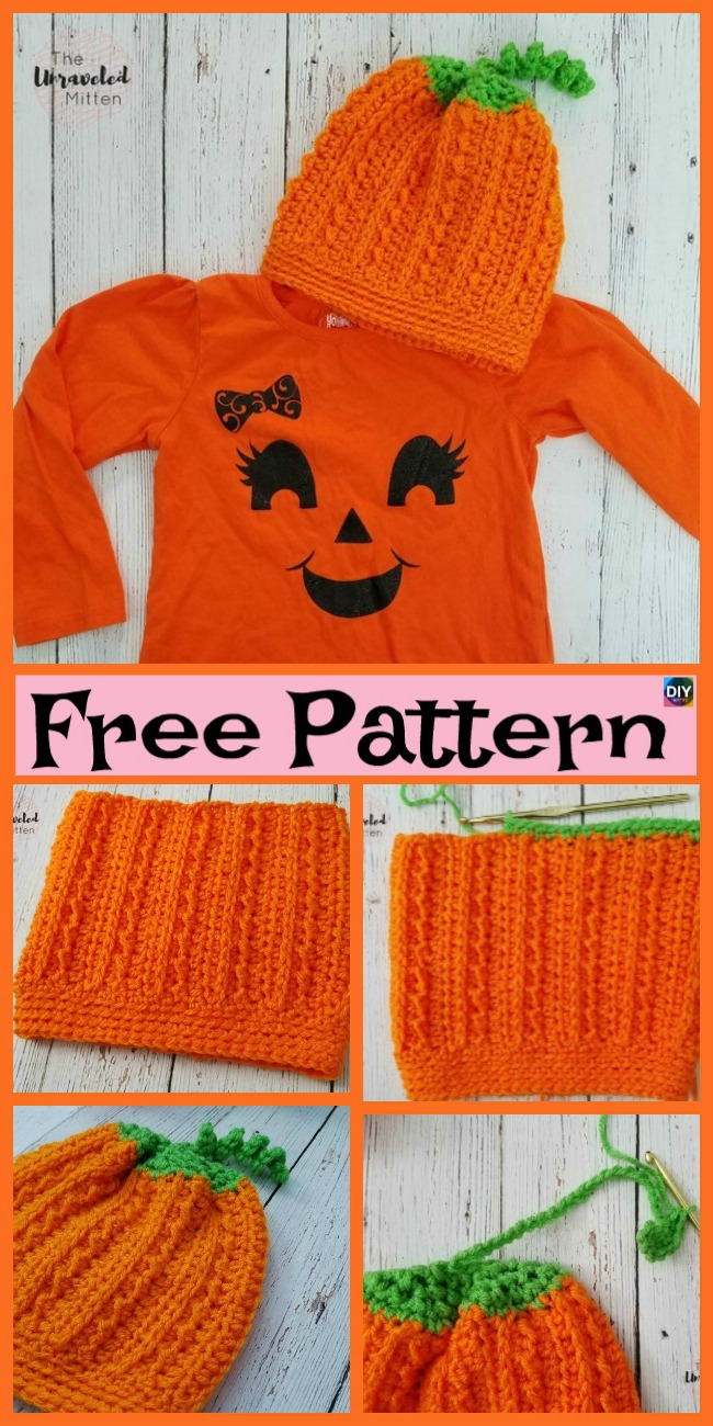 diy4ever-8 Cutest Crochet Pumpkin Hat Free Patterns