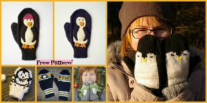 diy4ever Adorable Knit Penguin Mittens Free Patterns F 300x150 - Pretty Knitting Lace Poncho- Free Patterns