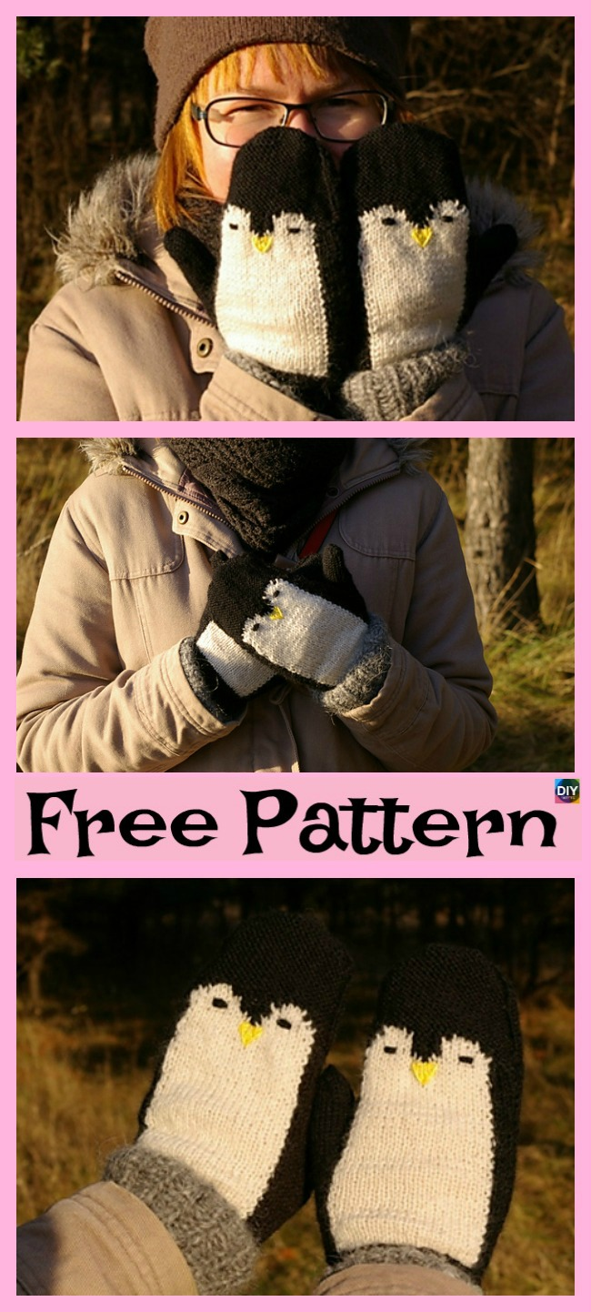 diy4ever-Adorable Knit Penguin Mittens - Free Patterns