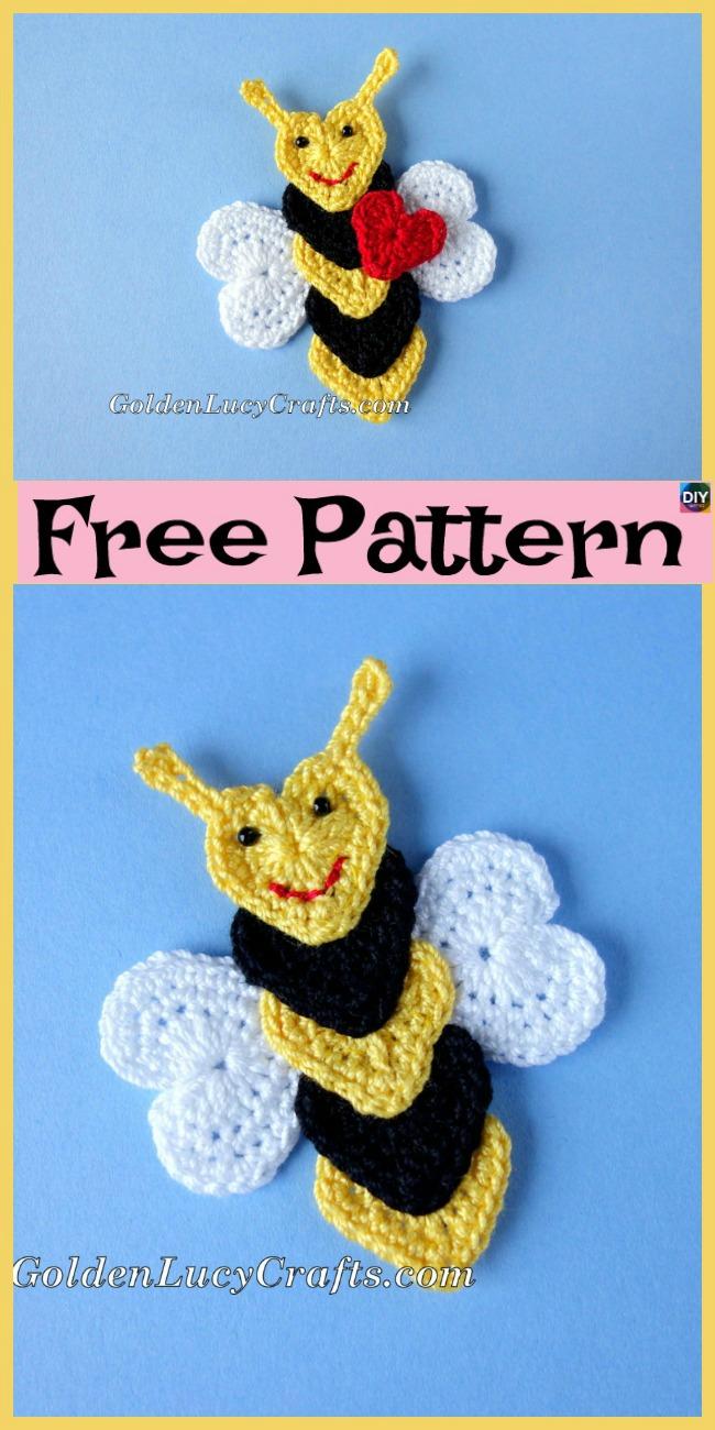 diy4ever-Crochet Applique Bees - Free Pattern