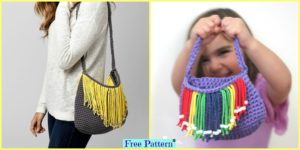 diy4ever Crochet Bernat Fringe Benefits Bag Free Pattern F 300x150 - Useful Convertible Crochet Blanket Bag - Free Pattern