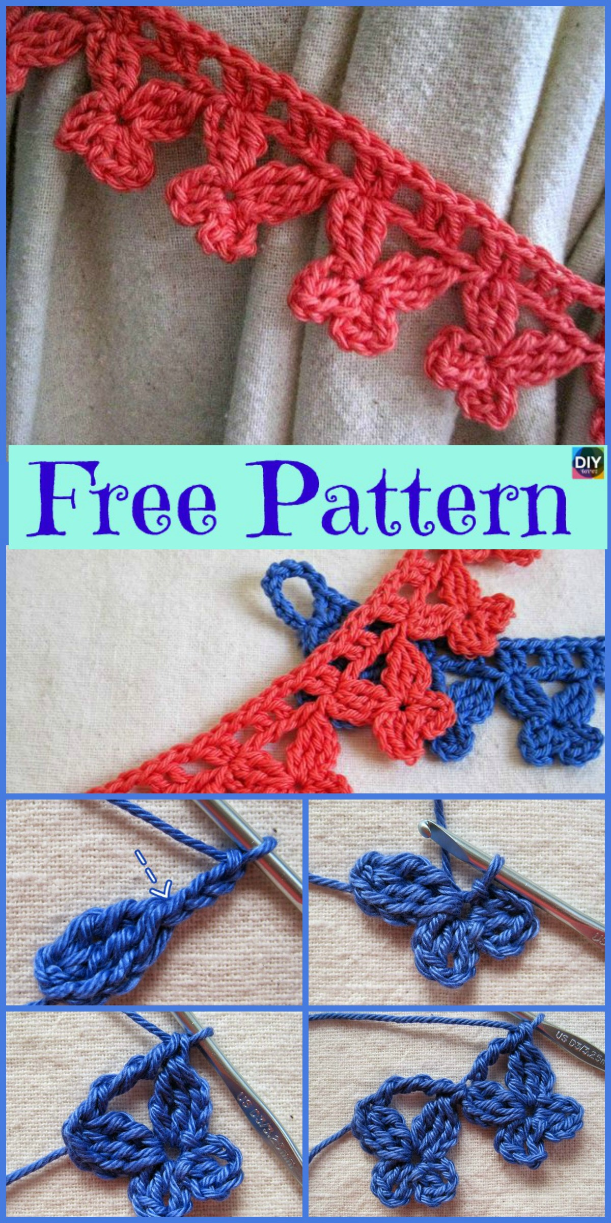 diy4ever-Crochet Butterfly Ties - Free Patterns