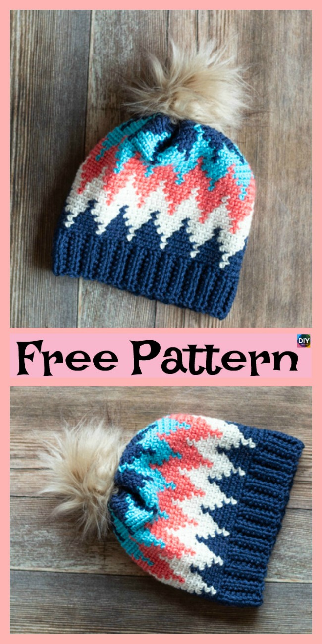 diy4ever-Crochet Chevron Hat – Free Patterns