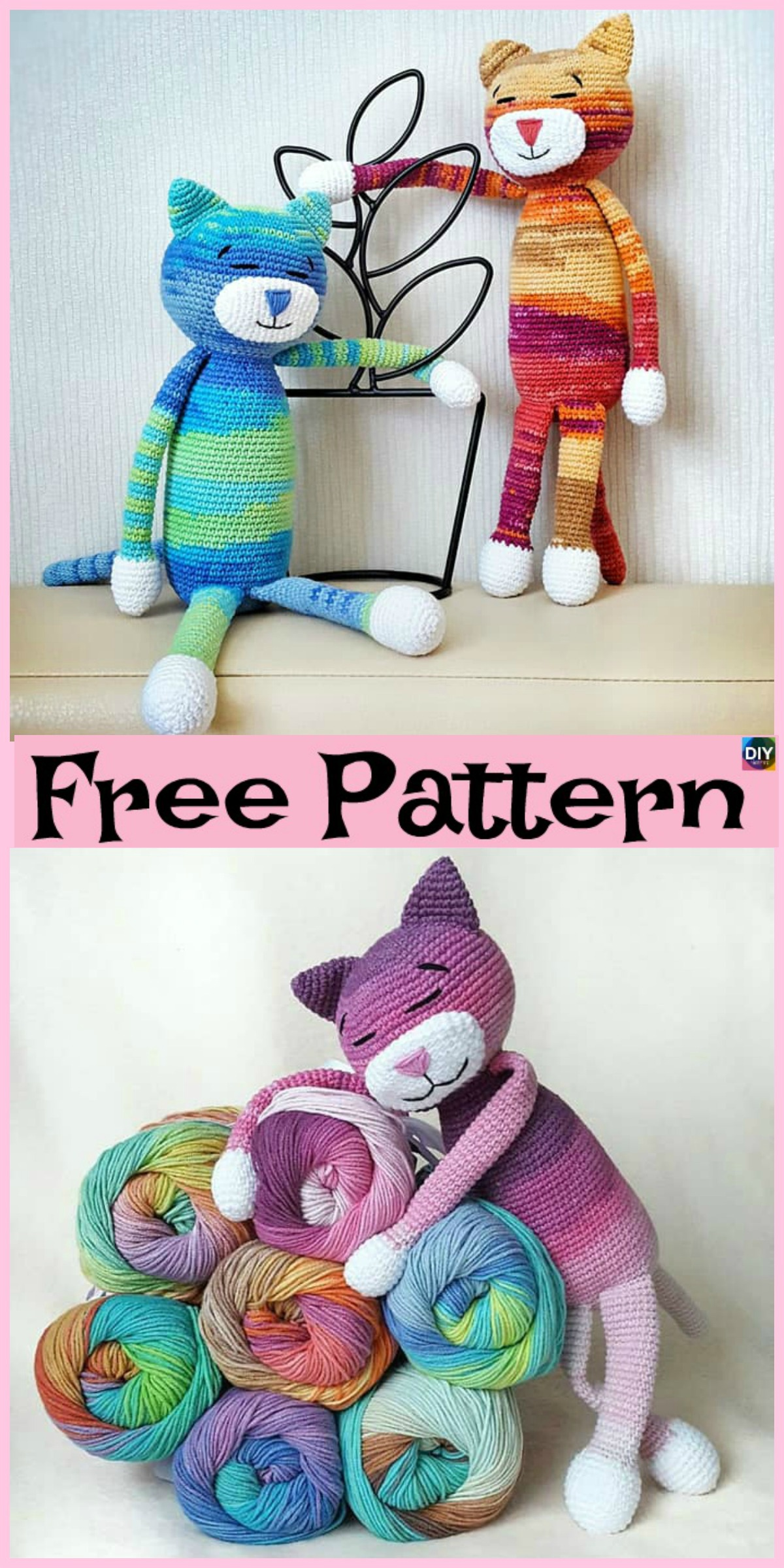 diy4ever-Crochet Large Ami Cat- Free Pattern