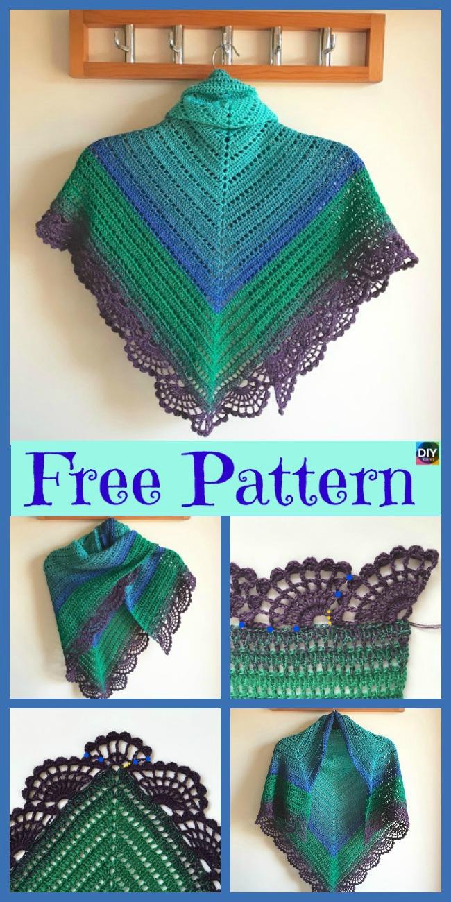 diy4ever- Crochet Peafowl Feathers Shawl - Free Pattern