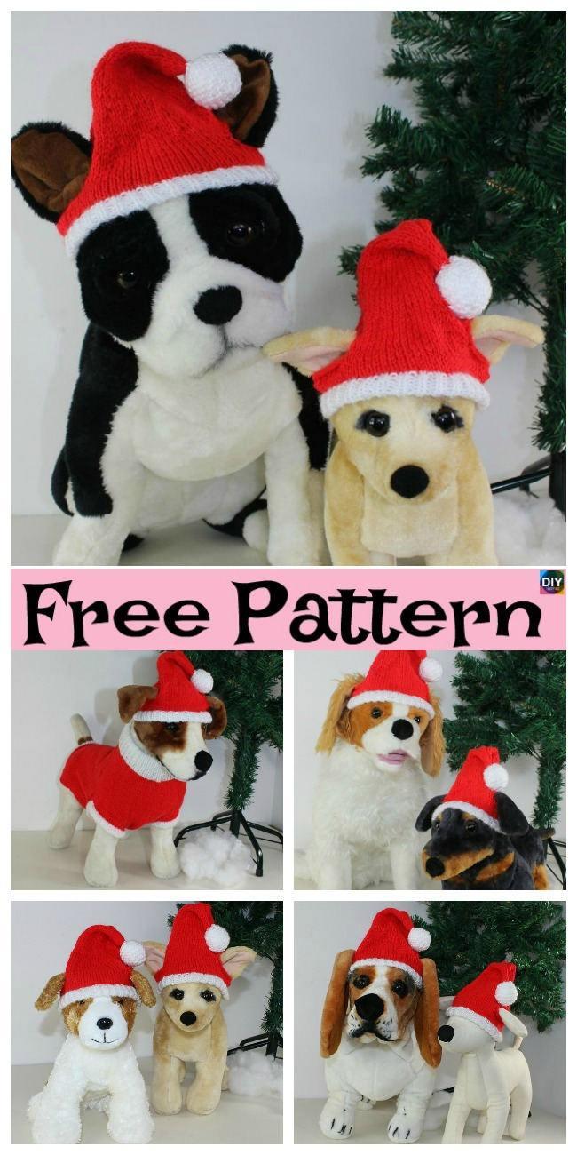 diy4ever-Knit Dog Santa Hat - Free patternt