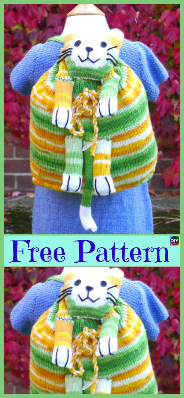 diy4ever Knit Kids Backpack Free Pattern P1 - Adorable Knit Kids' Backpack - Free Pattern