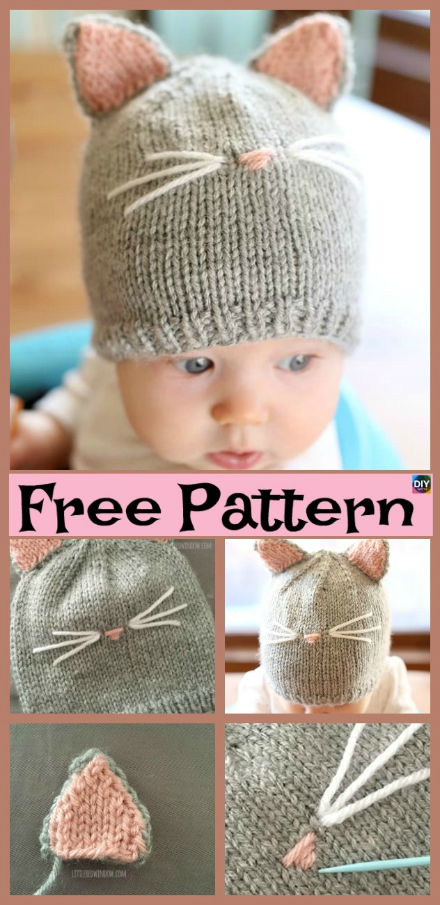 diy4ever- Knitting Kitty Cat Hat - Free Pattern