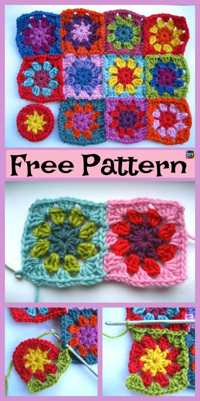 diy4ever-10 Beautiful Crochet Granny Squares - Free Patterns