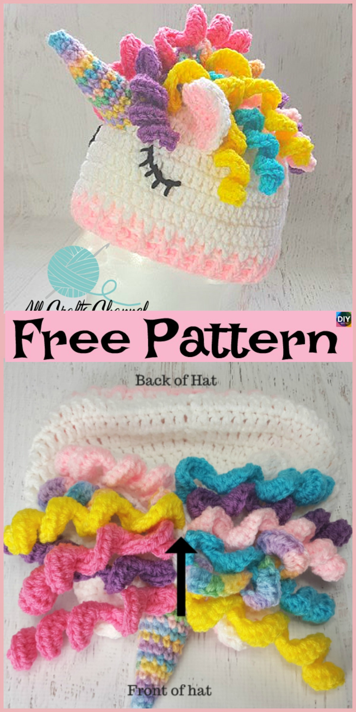 diy4ever-Crochet Unicorn Hat - Free Pattern