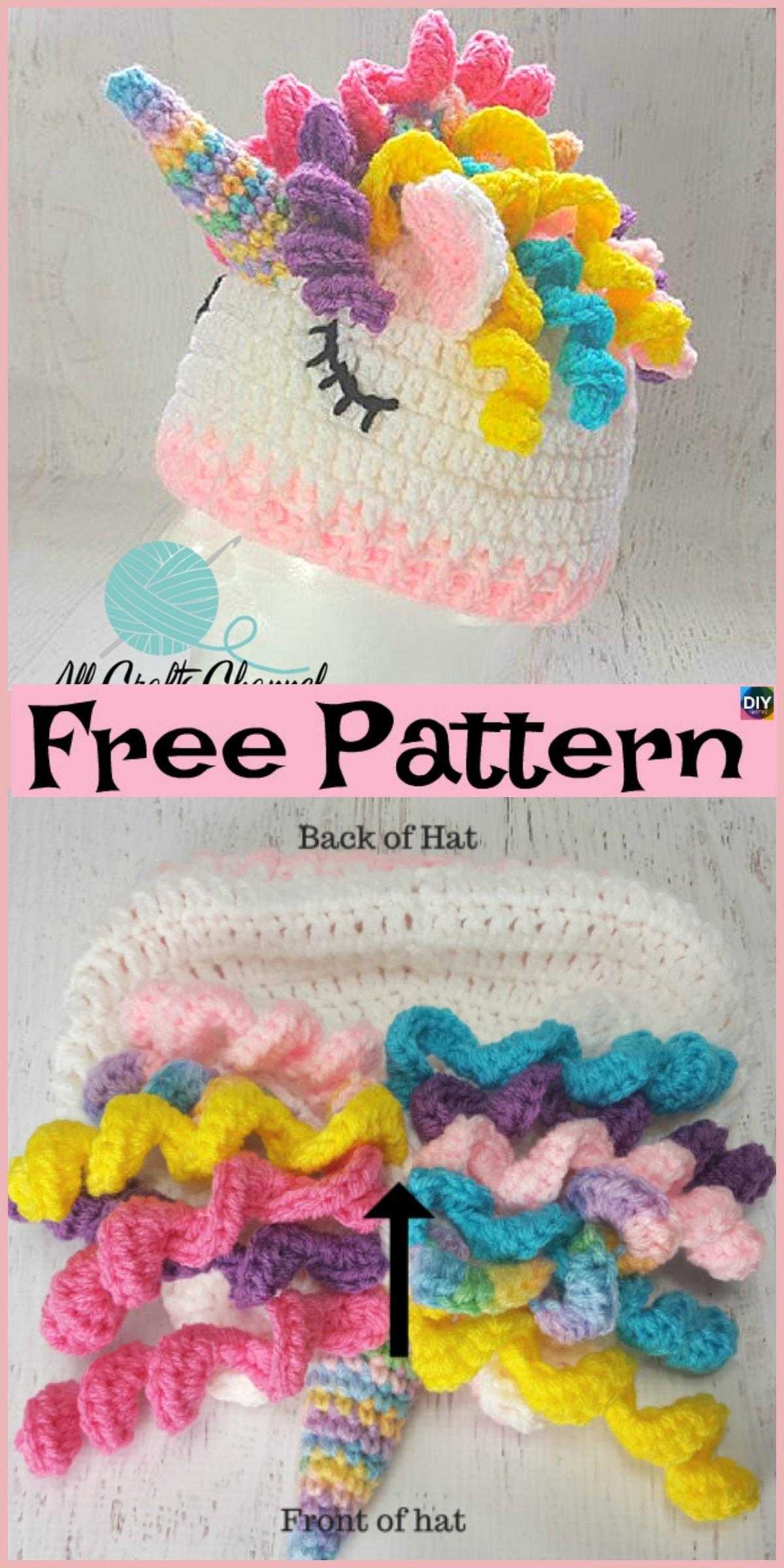 Cute Crochet Unicorn Hat - Free Pattern - DIY 4 EVER 452368f5471
