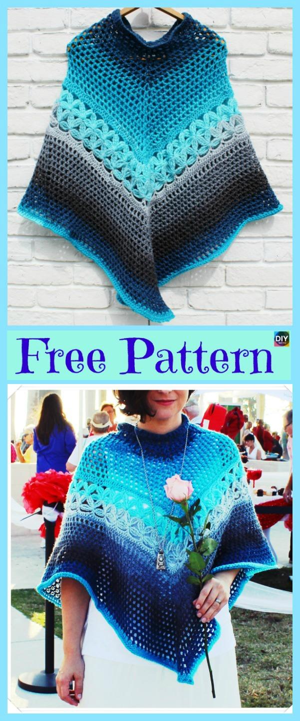 diy4ever-10+ Pretty Crocheted Shawls - Free Patterns
