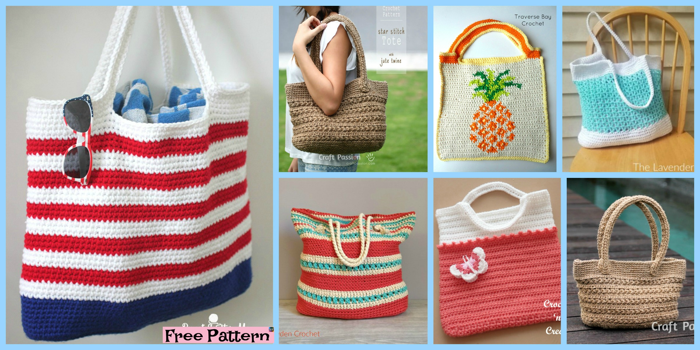 10 Pretty Crocheted Tote Bags - Free Patterns