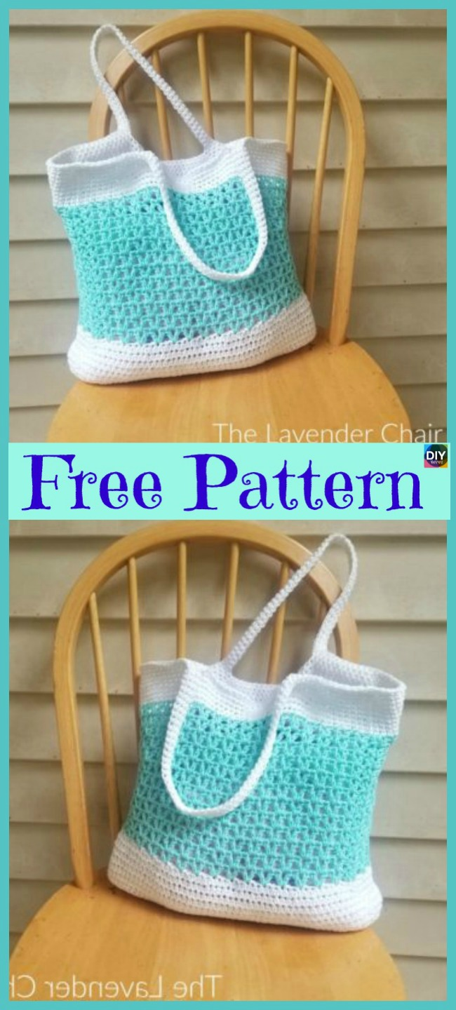 diy4ever-10 Pretty Crocheted Tote Bags - Free Patterns
