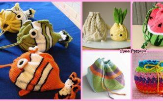 diy4ever-15 Crochet Drawstring Bag Free Patterns