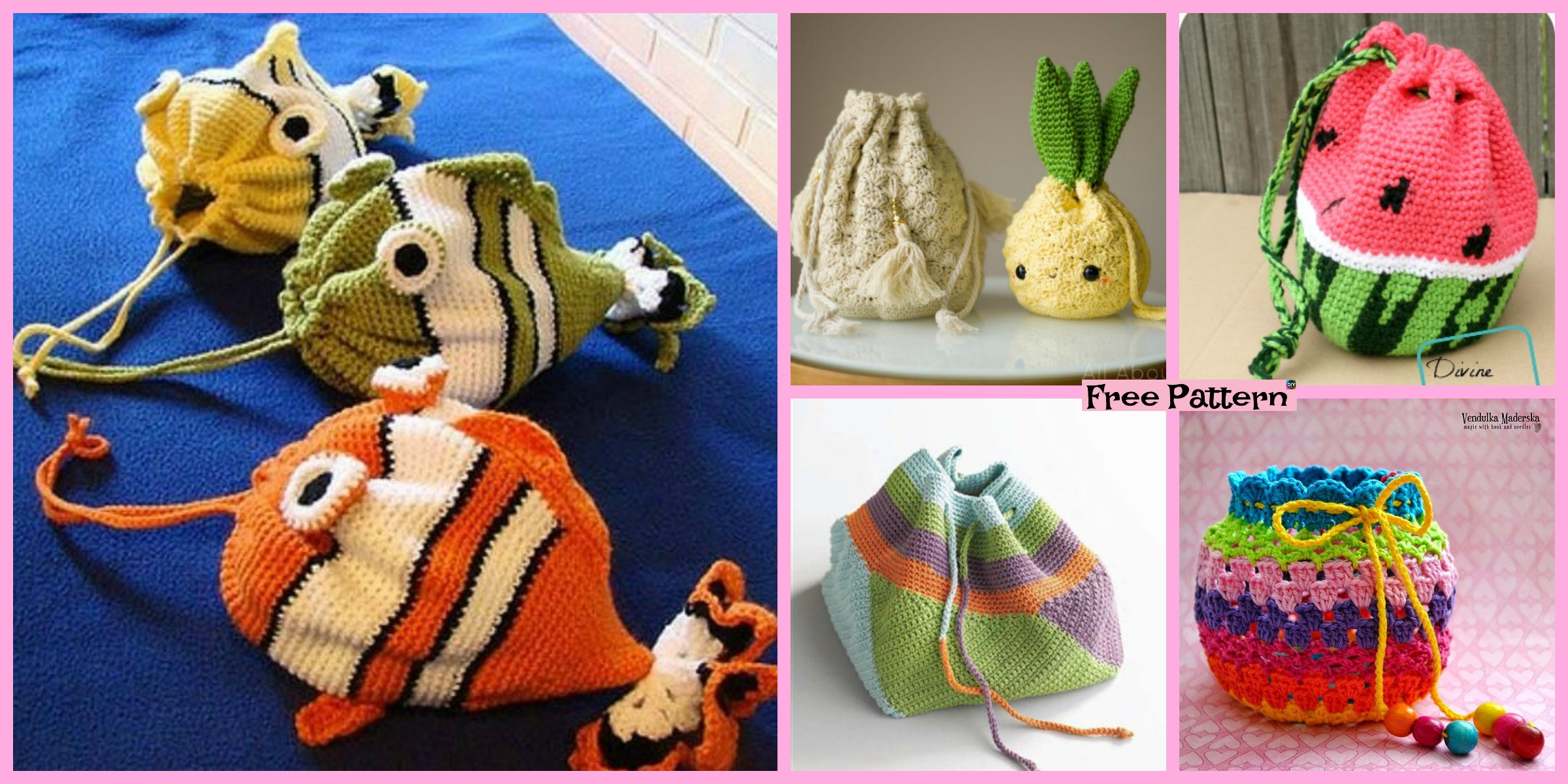 diy4ever-15 Crochet Drawstring Bag Free Patterns