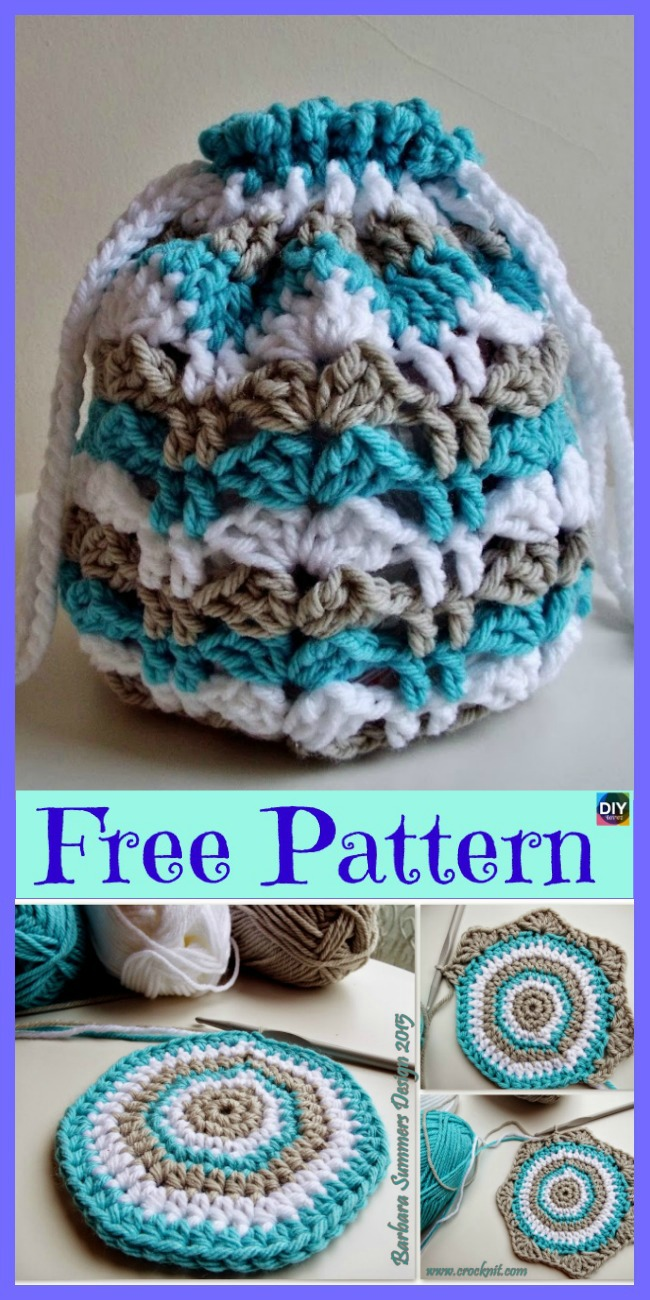 15 Crochet Drawstring Bag Free Patterns Diy 4 Ever