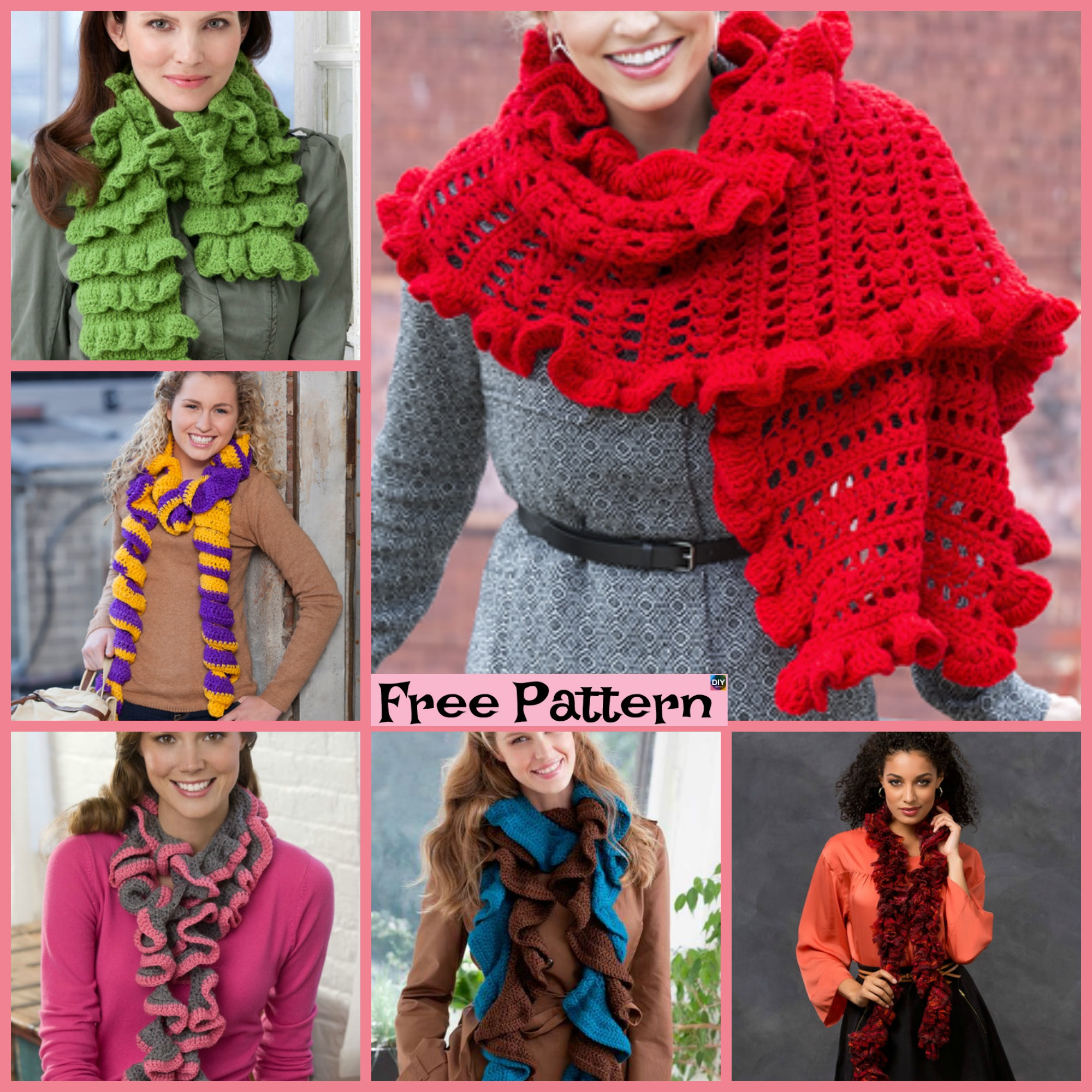 diy4ever-6 Crochet Ruffled Scarf Free Patterns