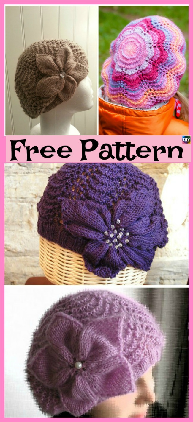 diy4ever-Cozy Knit Flower Beret - Free Pattern