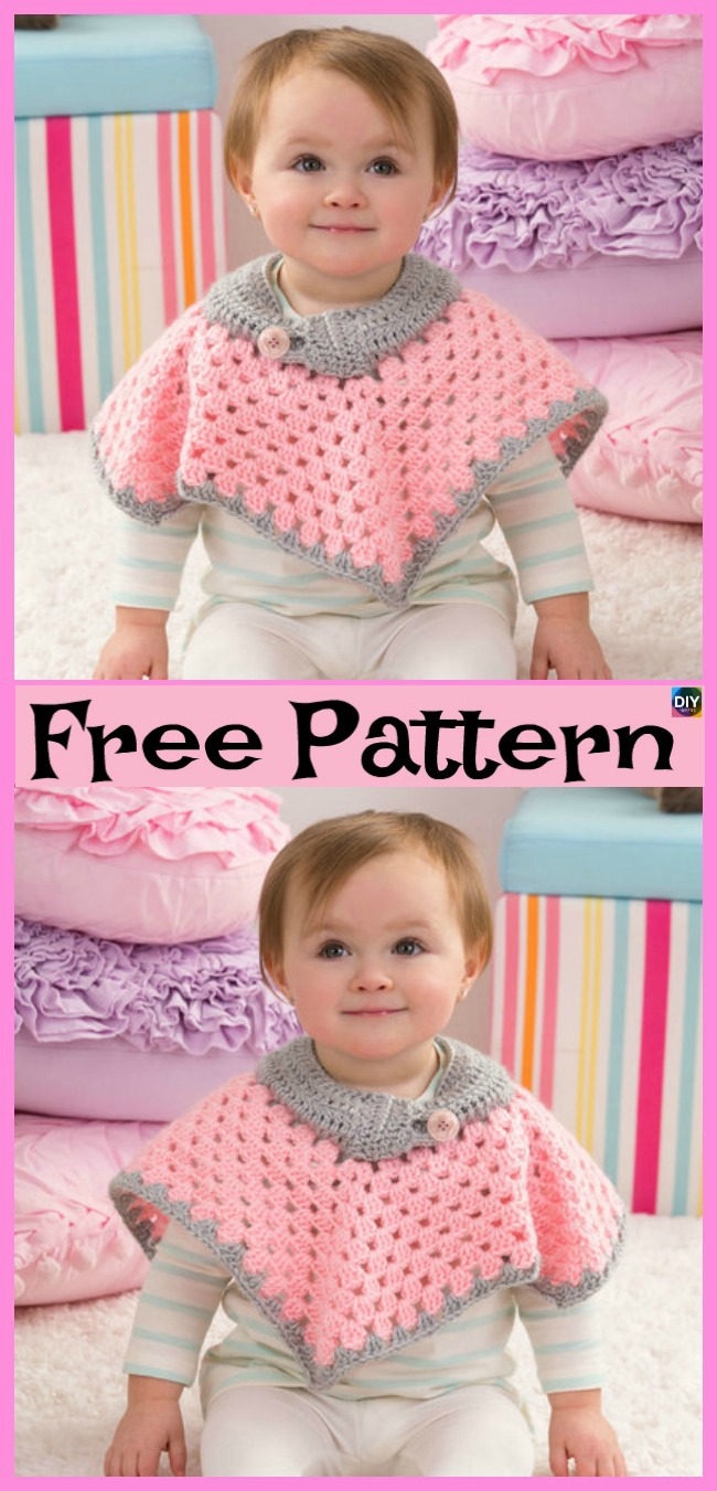 diy4ever-Crochet Baby Poncho - Free Pattern