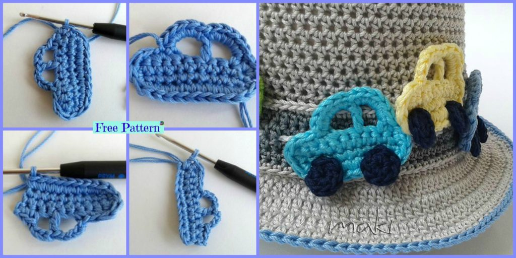 Cute Crochet Car Applique Free Pattern Diy 4 Ever
