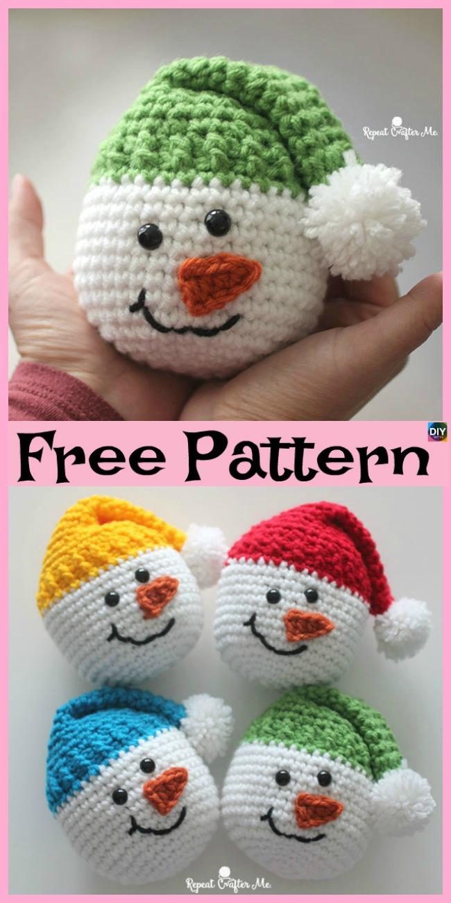 diy4ever-Crochet Cute Snowman - Free Pattern
