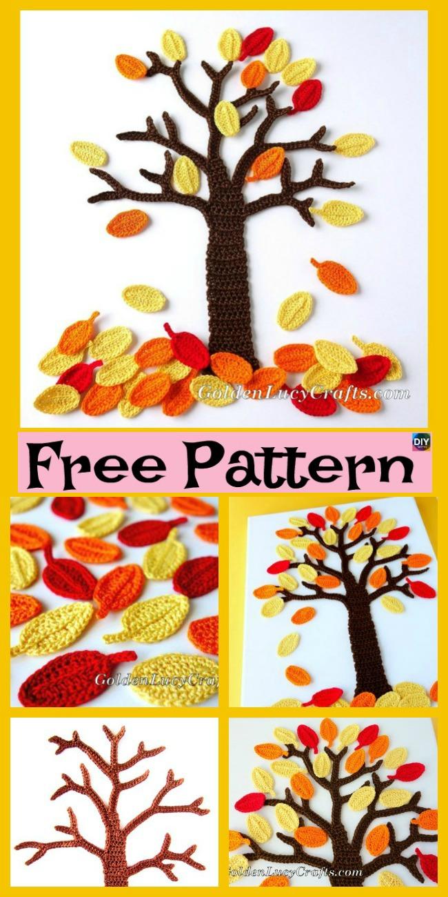 diy4ever Crochet Fall Tree Wall Art – Free Pattern P1 - Crochet Fall Tree Wall Art – Free Pattern