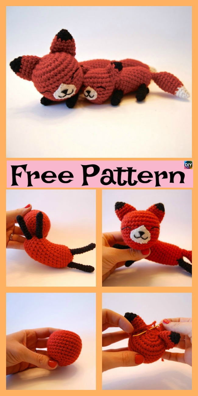 diy4ever-Crochet Mama Baby Foxes  - Free Pattern