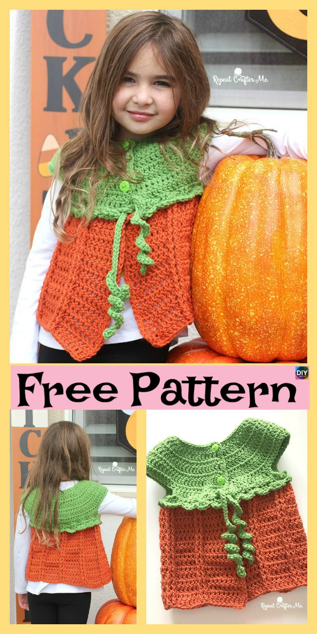 diy4ever-Crochet Pumpkin Sweater Vest - Free Pattern