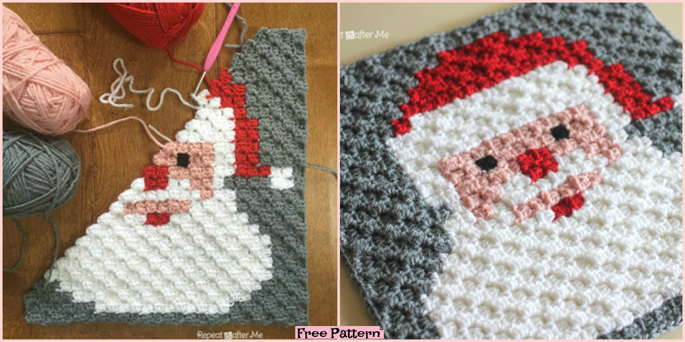 diy4ever-Crochet Santa Pixel Square - Free Pattern