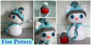 diy4ever-Crochet Snow Cat & Red Bird Buddy - Free Pattern