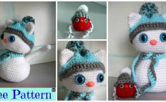 diy4ever-Crochet Snow Cat & Red Bird Buddy - Free Pattern