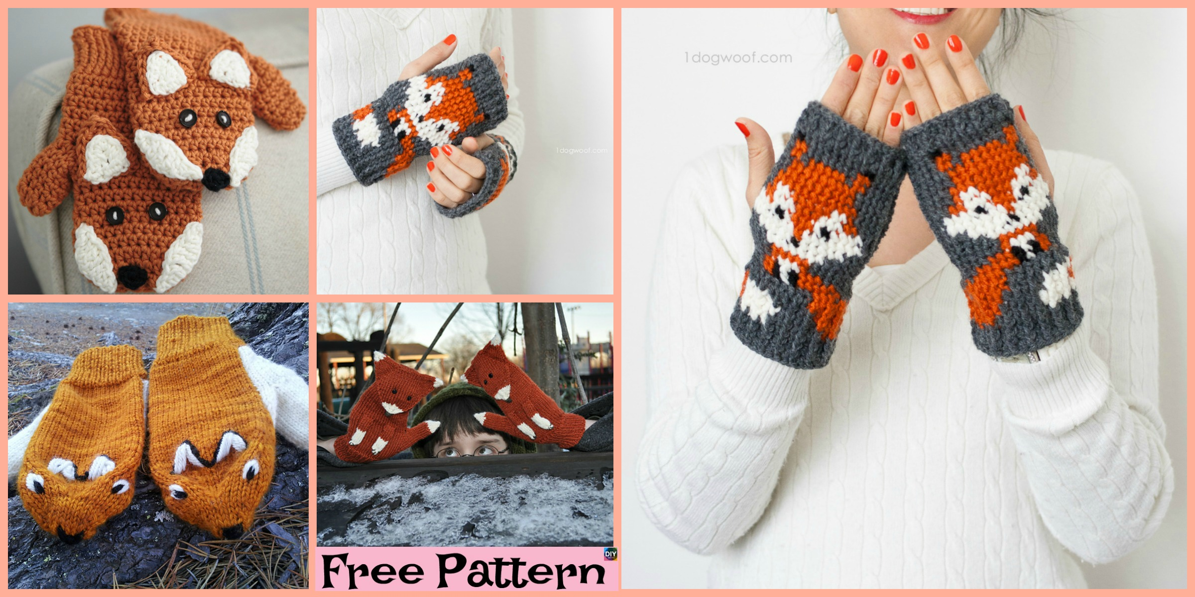 diy4ever-Knit Crochet Fox Mittens - Free Patterns