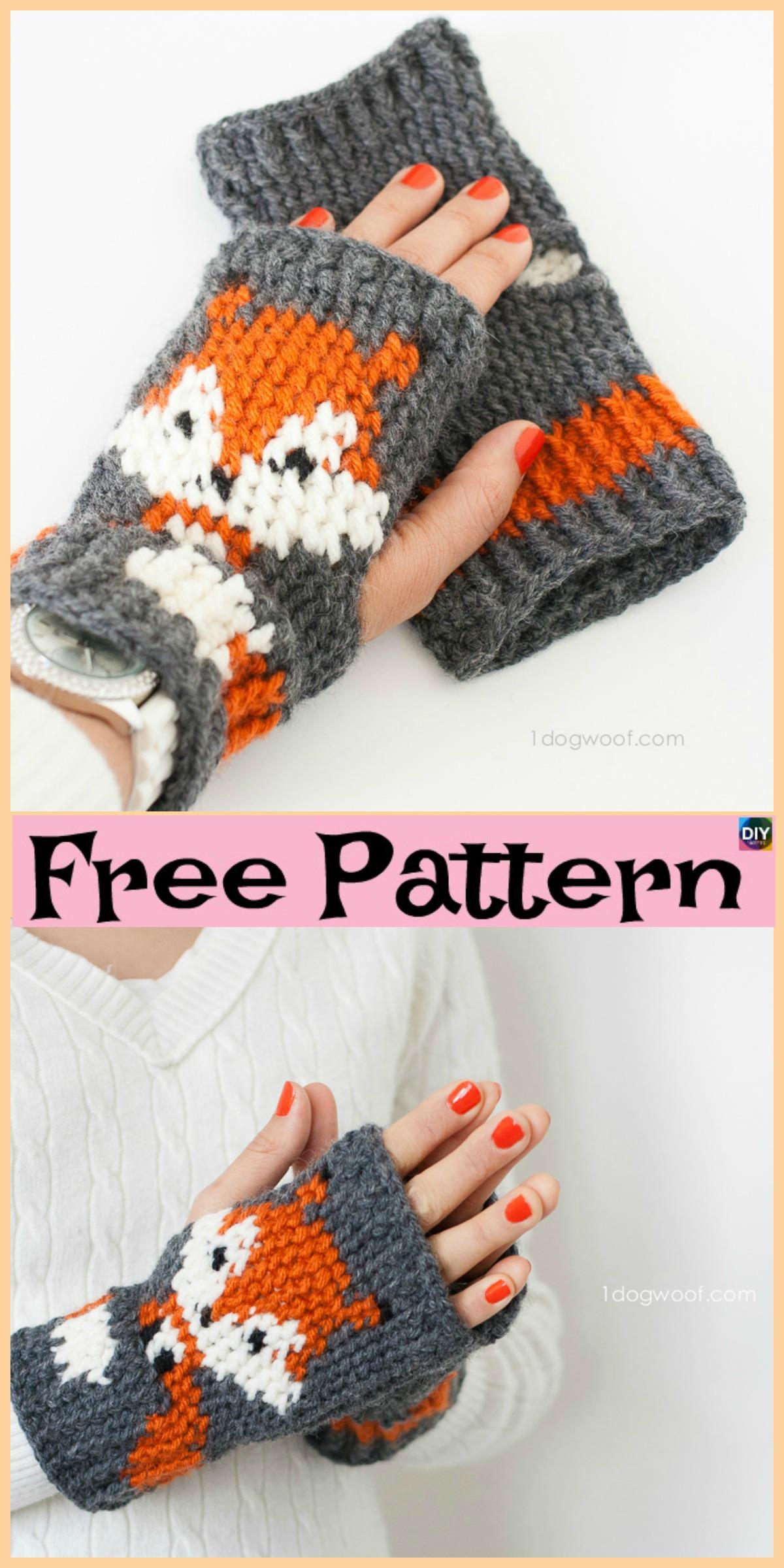 diy4ever-Knit Crochet Fox Mittens - Free Patterns