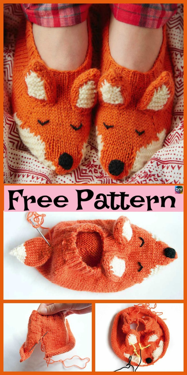 Adorable Knit Fox Tunic Slippers Free Patterns Diy 4 Ever