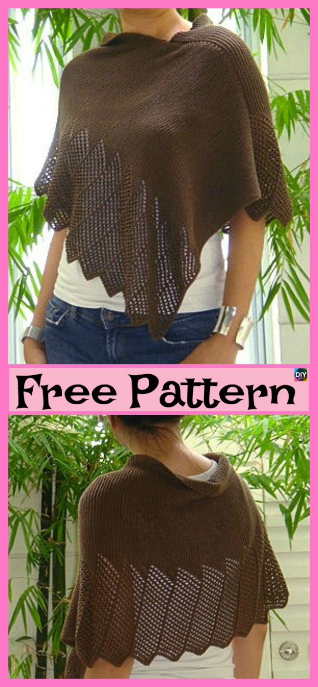 diy4ever-Knitting Lace Poncho- Free Patterns