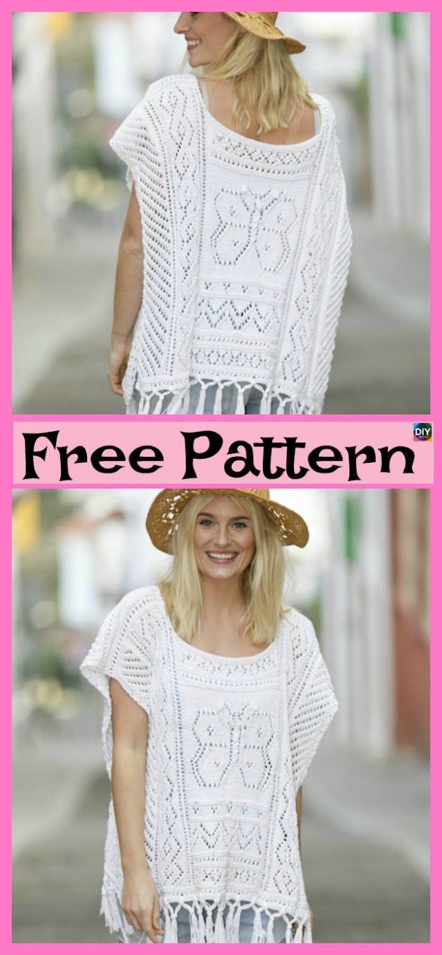 Pretty Knitting Lace Poncho- Free Patterns - DIY 4 EVER