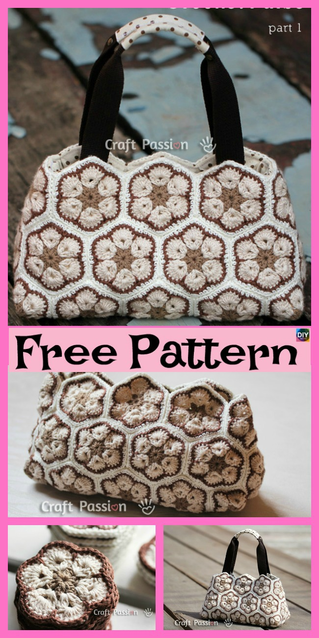 diy4ever-Pretty Crochet African Flower Purse - Free Pattern