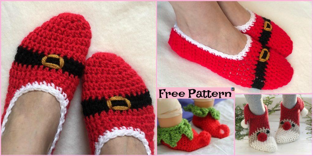 Crochet Christmas Slipper Socks Free Pattern Diy 4 Ever