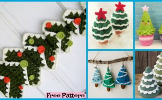 DIY4ever-8 Mini Crochet Christmas Trees - Free Patterns
