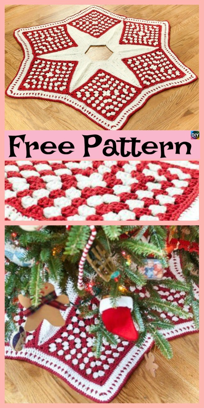 diy4ever-10 Crochet Christmas Tree Skirts - Free Patterns
