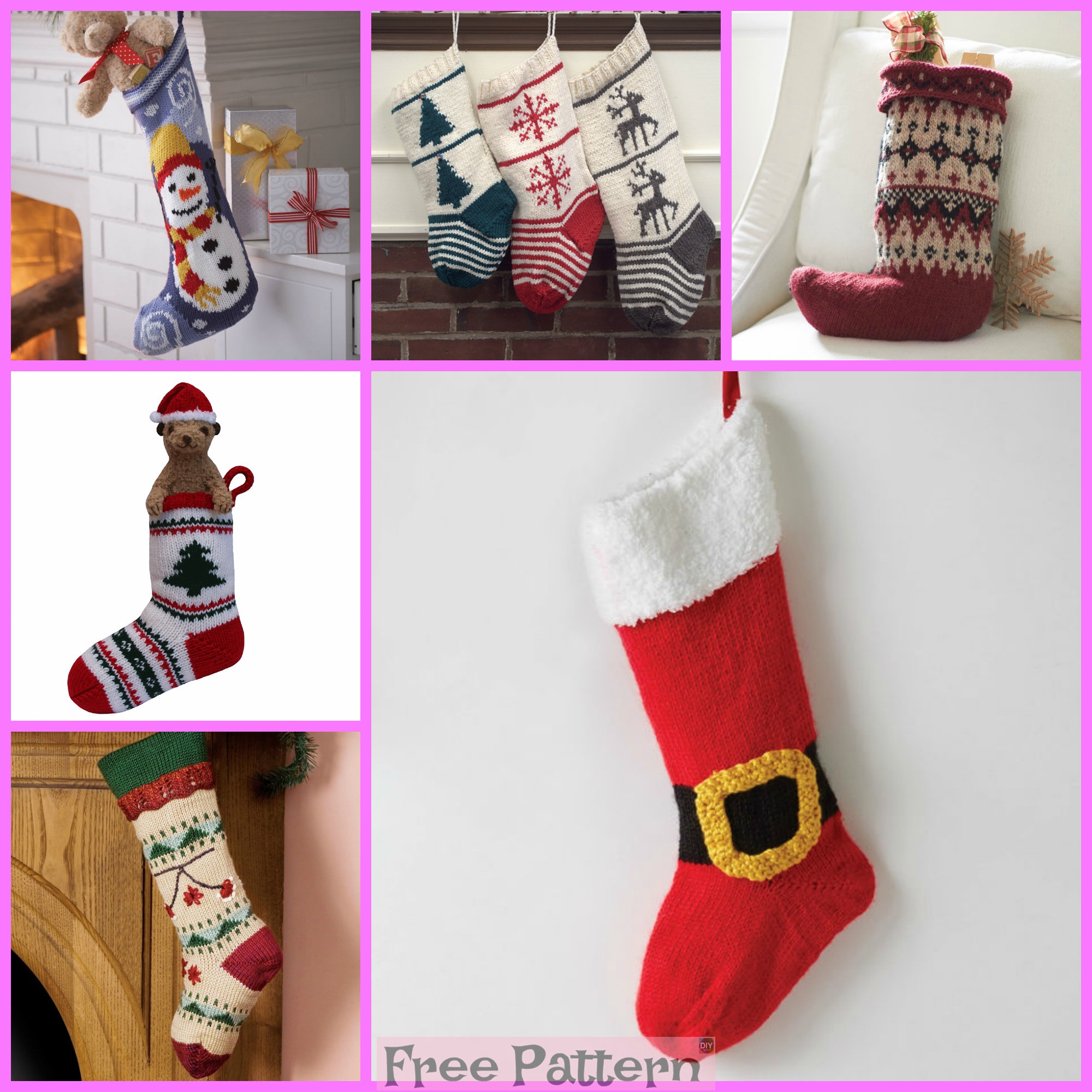 diy4ever-6 Knit Christmas Stocking - Free Patterns