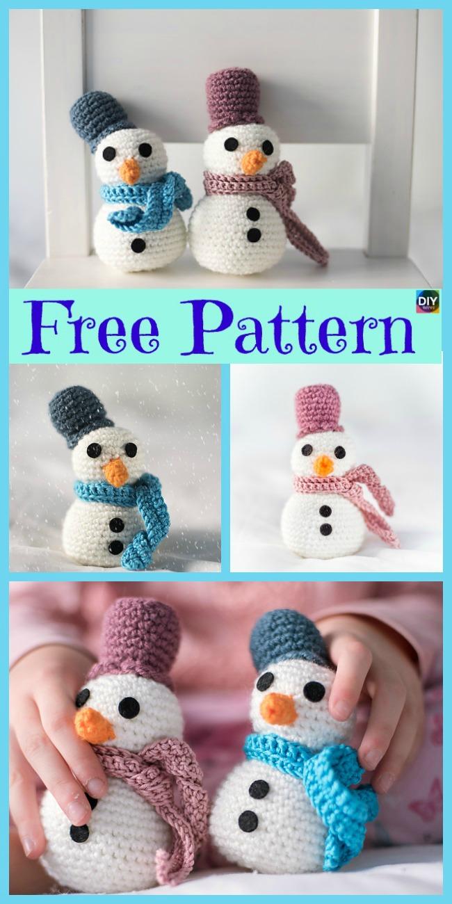 diy4ever-8 Crochet Cute Snowmen - Free Patterns
