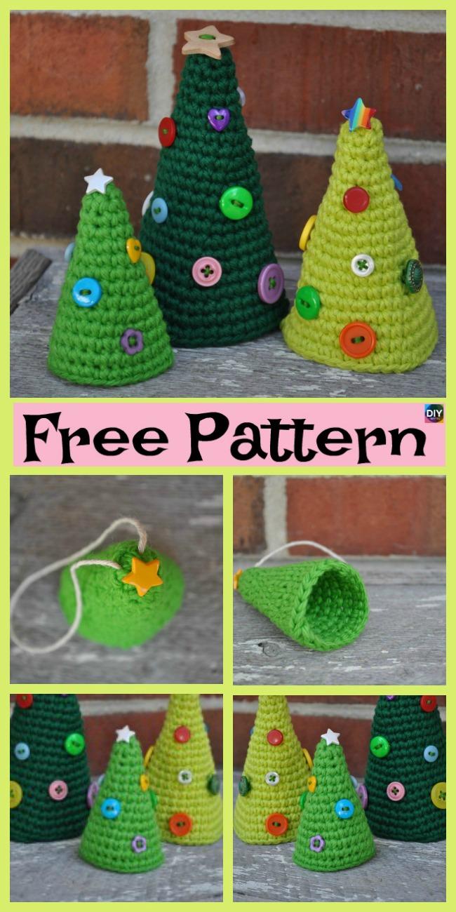DIY4ever-8 Mini Crochet Christmas Trees - Free Patterns