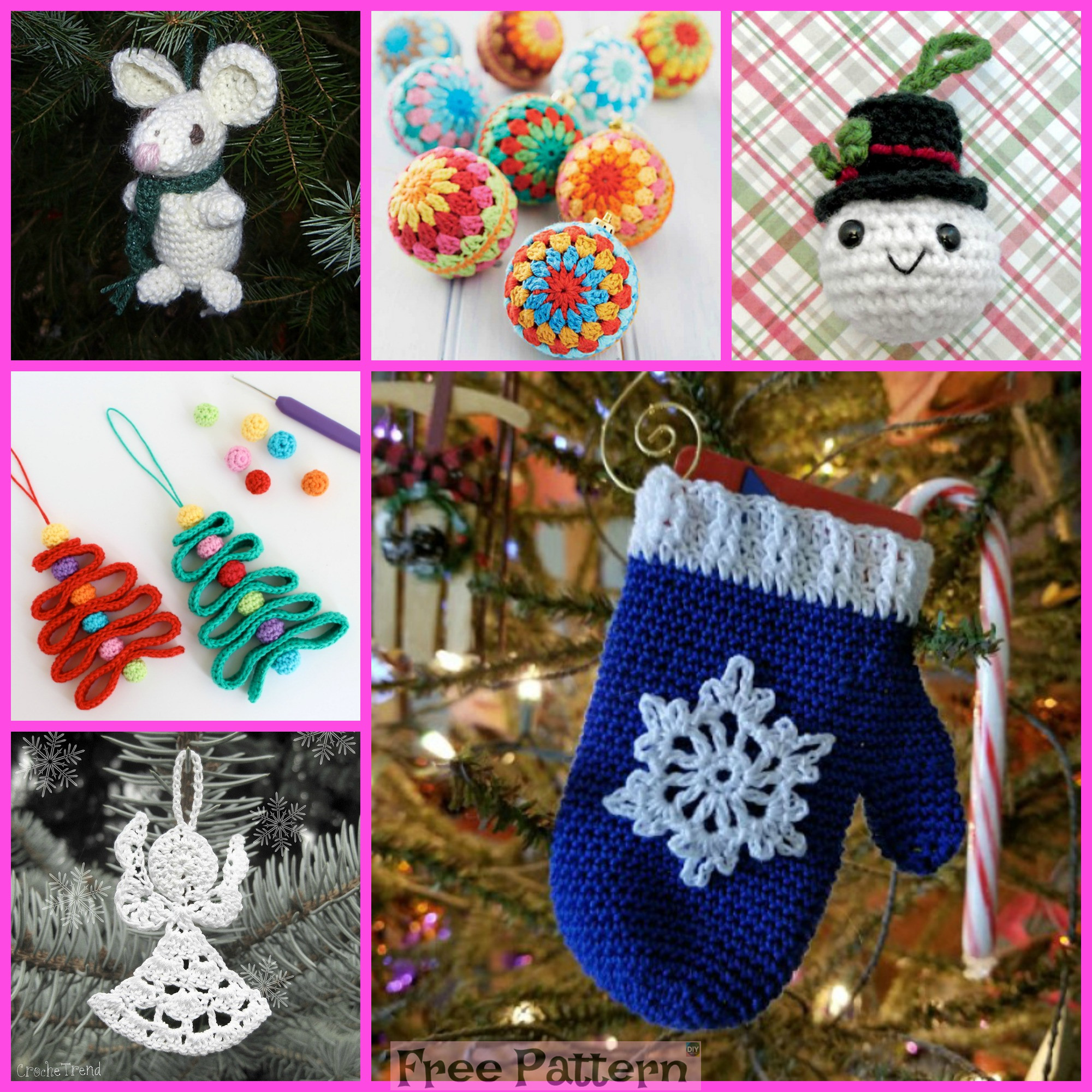 diy4ever-Crochet Christmas Ornaments - Free Patterns