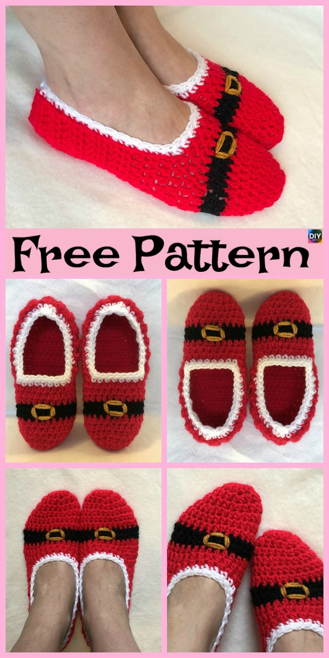 diy4ever-Crochet Christmas Slipper Socks - Free Pattern