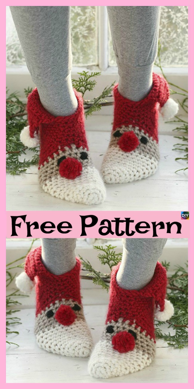 diy4ever-Crochet Christmas Slipper Socks - Free Pattern P