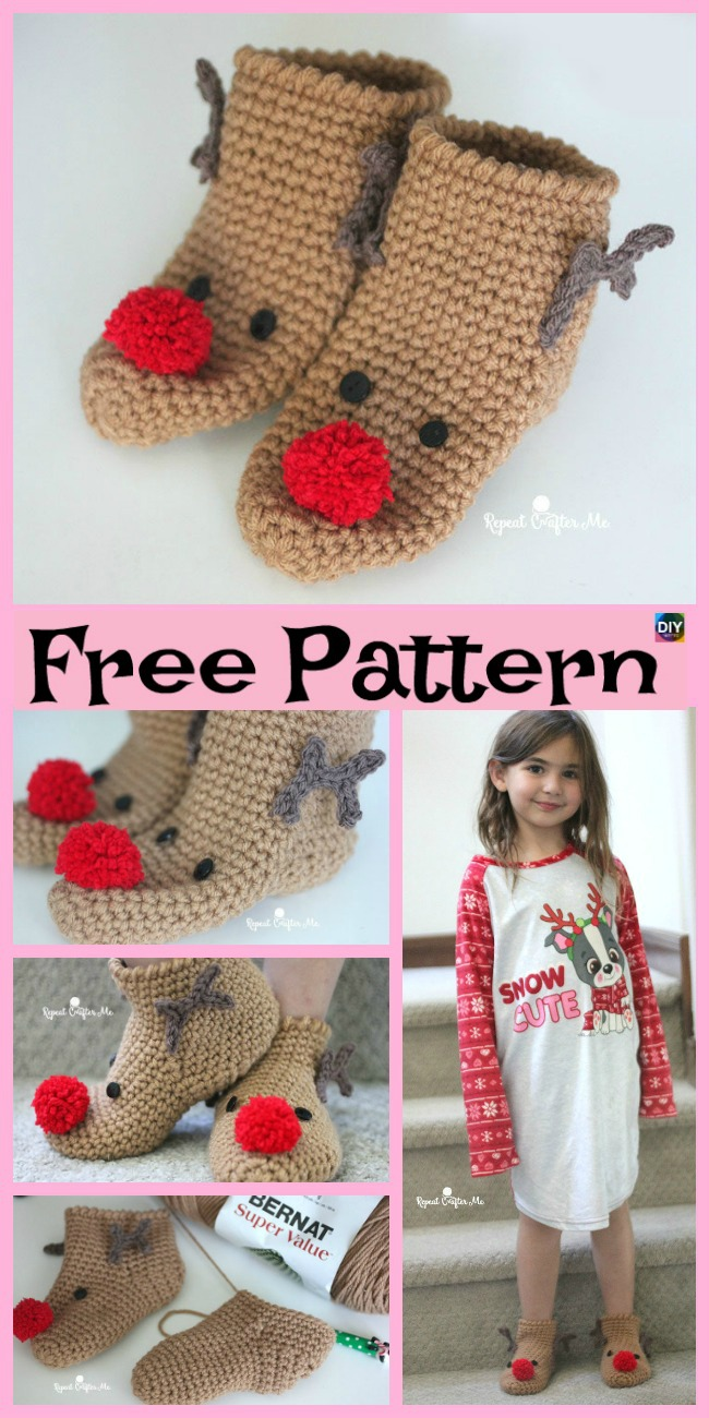 diy4ever-Crochet Rudolph Slipper Socks - Free Pattern